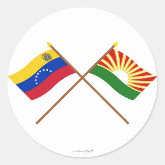 Crossed Venezuela and Lara Flags Classic Round Sticker