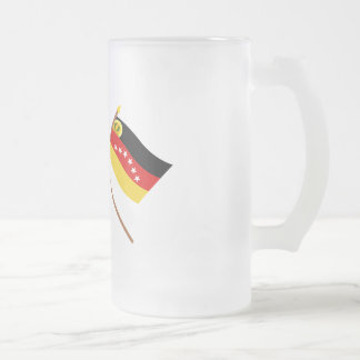 Crossed Venezuela and Miranda Flags Frosted Glass Beer Mug
