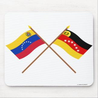 Crossed Venezuela and Miranda Flags Mousepad