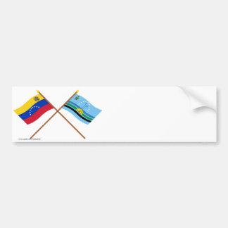 Crossed Venezuela and Monagas Flags Bumper Sticker