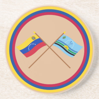 Crossed Venezuela and Monagas Flags Coaster