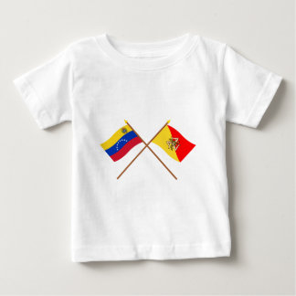 Crossed Venezuela and Sicily Flags Baby T-Shirt