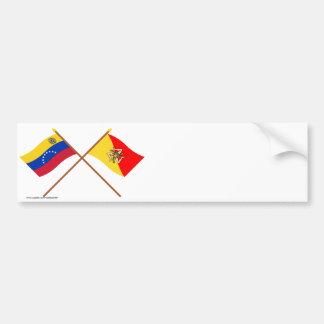 Crossed Venezuela and Sicily Flags Bumper Sticker