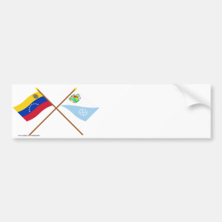 Crossed Venezuela and Sucre Flags Car Bumper Sticker