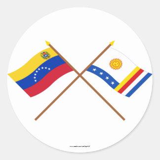 Crossed Venezuela and Vargas Flags Classic Round Sticker