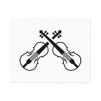 Crossed violin fiddle canvas print