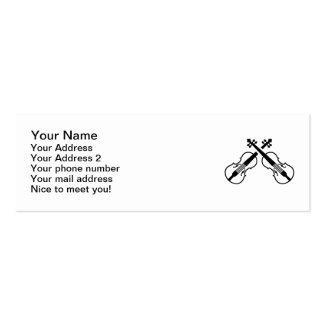 Crossed violin fiddle mini business card