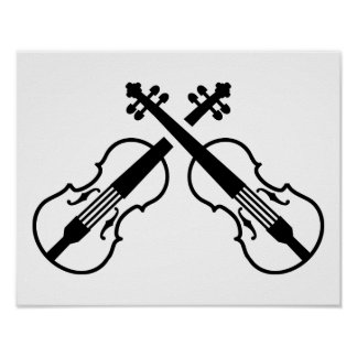 Crossed violin fiddle poster