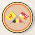 Crossed Walloon and Liège Flags with Belgium Beverage Coasters
