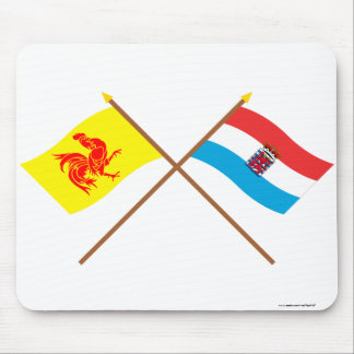 Crossed Walloon and Luxembourg Flags (de legis) Mousepads