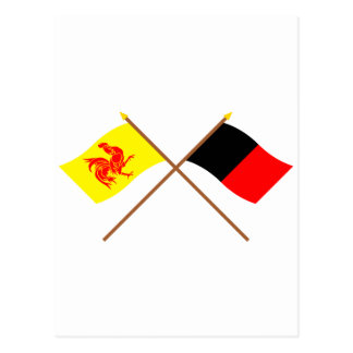 Crossed Walloon and Namur Flags Postcard