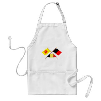 Crossed Walloon and Namur Flags with Belgium Adult Apron