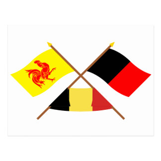 Crossed Walloon and Namur Flags with Belgium Postcard
