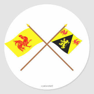 Crossed Walloon and Walloon Brabant Flags Round Sticker