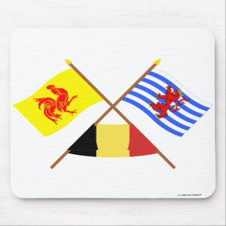Crossed Walloon & Luxembourg Flags w Belgium Mouse Pad