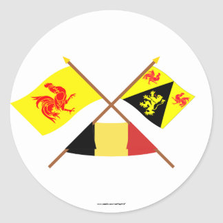 Crossed Walloon & Walloon Brabant Flags w Belgium Round Stickers