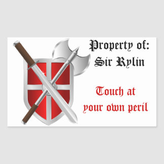 Crossed Weapons on Shield Rectangular Sticker
