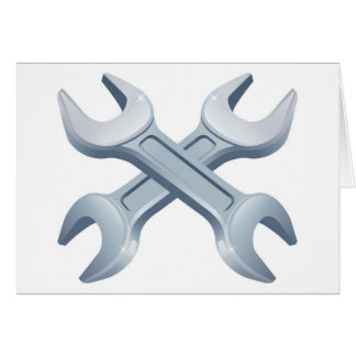 Crossed wrench spanners card