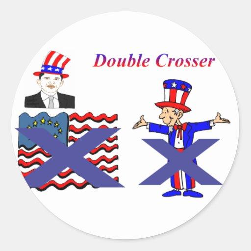 crosser doble 2 pegatina redonda
