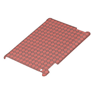 Crosses and dots red coral/blue pattern iPad case