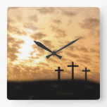 "Crosses and Sunset ""He is Risen"" Easter Wall Clock"