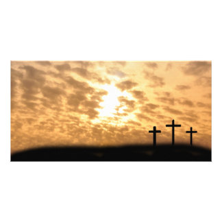 """Crosses on a Hill Easter """"He is Risen"""" Photo Card"""