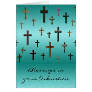 Crosses on Metallic Aqua Blue Print Card