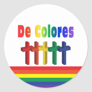 Crosses que marcha De Colores Sticker Pegatina Redonda