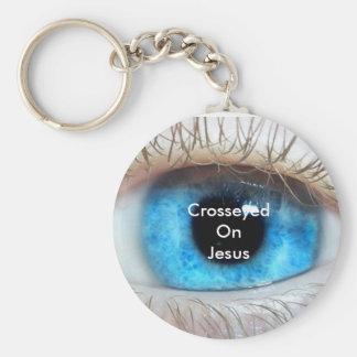 Crosseyed On Jesus (blue) Basic Round Button Keychain