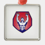Crossfit Training Athlete Rings Retro Silver-Colored Square Decoration