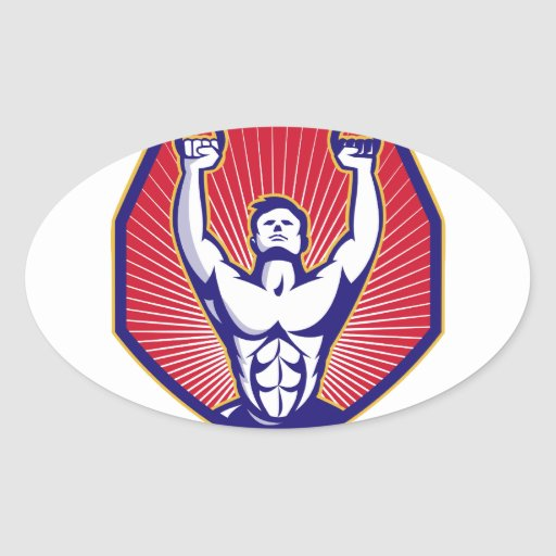 Crossfit Training Athlete Rings Retro Oval Sticker