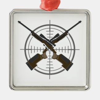 Crosshairs sniper rifle hunting metal ornament