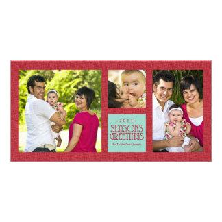 Crosshatch Frame Multi-photo Holiday Greeting Personalized Photo Card