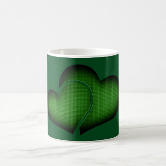 Crosshatch Green Duo Hearts Coffee Mug