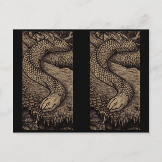 Crosshatch snake cutout bookmarks postcard