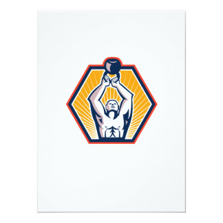Crossift Athlete Lifting Kettlebell Front Retro 5.5x7.5 Paper Invitation Card