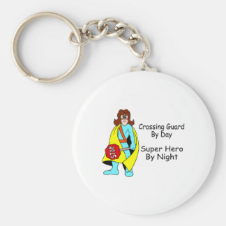 Crossing Guard By Day Super Hero By Night Basic Round Button Keychain