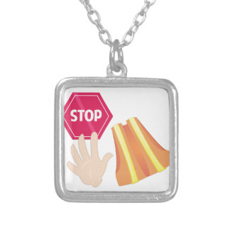 Crossing Guard Silver Plated Necklace