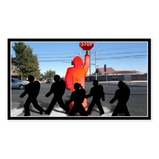 Crossing Guard w/Kids on the Street Business Card Template