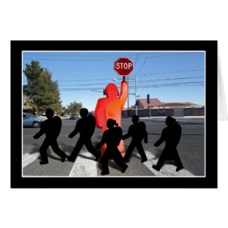 Crossing Guard w/Kids on the Street Greeting Card