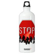 Crossing Guard w/Kids & Stop Sign Aluminum Water Bottle