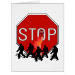 Crossing Guard w/Kids & Stop Sign Large Greeting Card