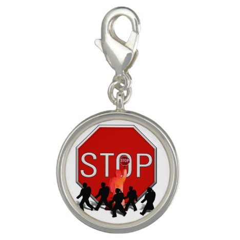 Crossing Guard w/Kids & Stop Sign Charm