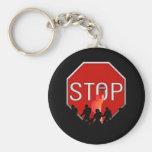 Crossing Guard w/Kids & Stop Sign Key Chain