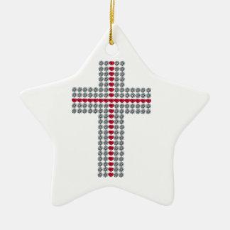 Crossing Hearts Cross Ceramic Ornament