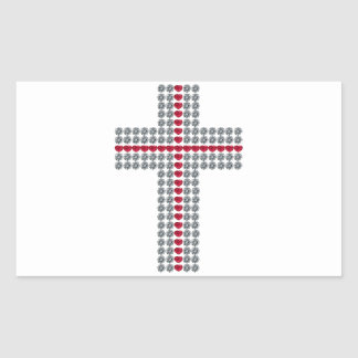 Crossing Hearts Cross Rectangular Sticker