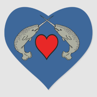 Crossing Horns Narwhal With Heart Heart Stickers