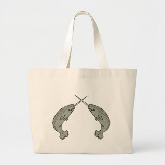 Crossing Horns Narwhals Tote Bag