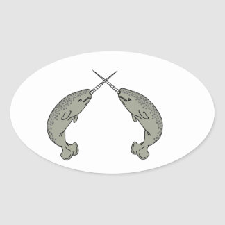 Crossing Horns Narwhals Oval Sticker
