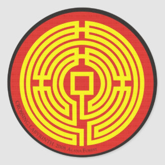 crossing labyrinth chinese classic round sticker